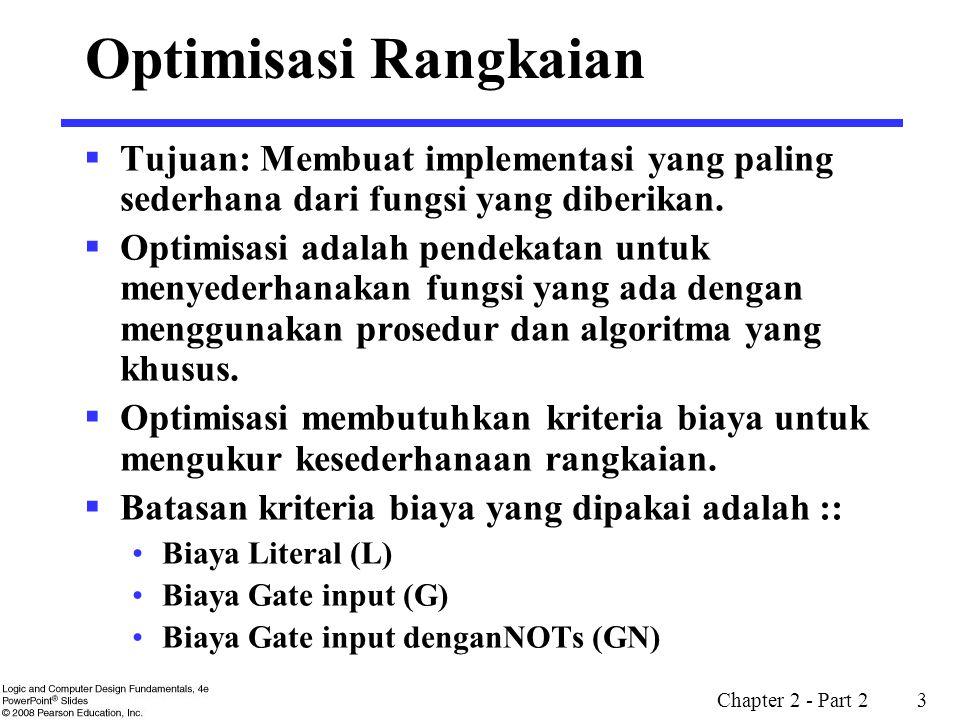 Chapter 2 - Part 2 3 Optimisasi Rangkaian  Tujuan: Membuat implementasi yang paling sederhana dari fungsi yang diberikan.  Optimisasi adalah pendeka