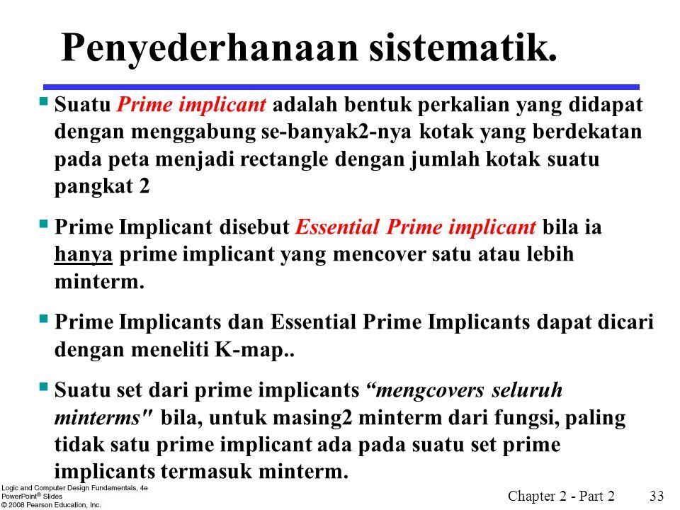 Chapter 2 - Part 2 33 Penyederhanaan sistematik.  Suatu Prime implicant adalah bentuk perkalian yang didapat dengan menggabung se-banyak2-nya kotak y