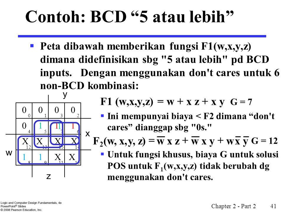 """Chapter 2 - Part 2 41 Contoh: BCD """"5 atau lebih""""  Peta dibawah memberikan fungsi F1(w,x,y,z) dimana didefinisikan sbg"""
