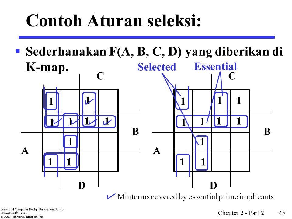 Chapter 2 - Part 2 45 Contoh Aturan seleksi:  Sederhanakan F(A, B, C, D) yang diberikan di K-map. 1 1 1 1 1 1 1 B D A C 1 1 1 1 1 1 1 1 1 1 B D A C 1