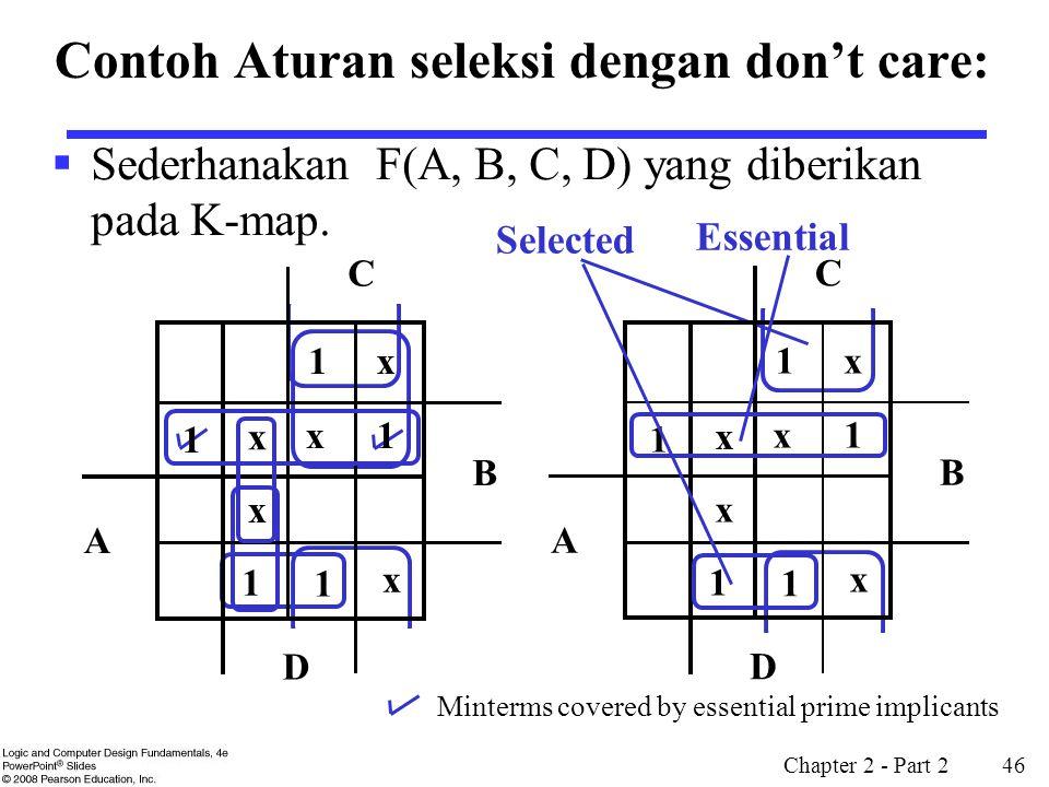 Chapter 2 - Part 2 46  Sederhanakan F(A, B, C, D) yang diberikan pada K-map. Selected Minterms covered by essential prime implicants 1 1 x x x x x 1