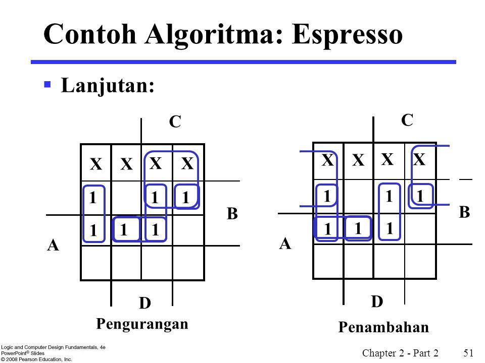 Chapter 2 - Part 2 51 X X X X  Lanjutan: B D A C Pengurangan B D A C 1 1 1 11 1 X X X X 1 1 1 11 1 Penambahan Contoh Algoritma: Espresso