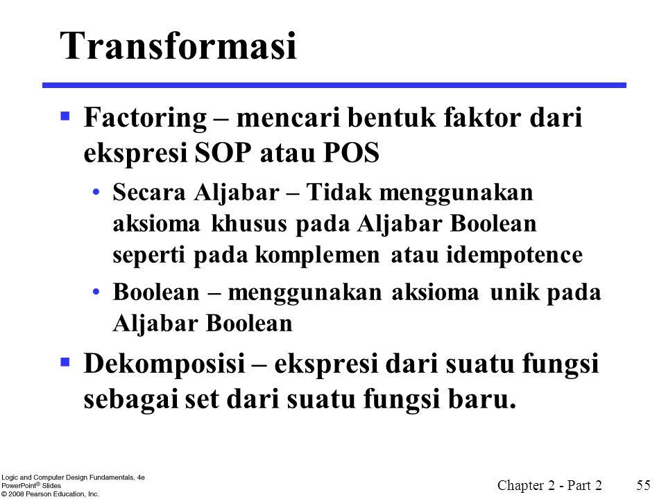 Chapter 2 - Part 2 55 Transformasi  Factoring – mencari bentuk faktor dari ekspresi SOP atau POS Secara Aljabar – Tidak menggunakan aksioma khusus pa