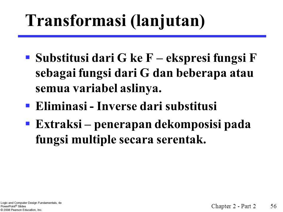 Chapter 2 - Part 2 56  Substitusi dari G ke F – ekspresi fungsi F sebagai fungsi dari G dan beberapa atau semua variabel aslinya.  Eliminasi - Inver