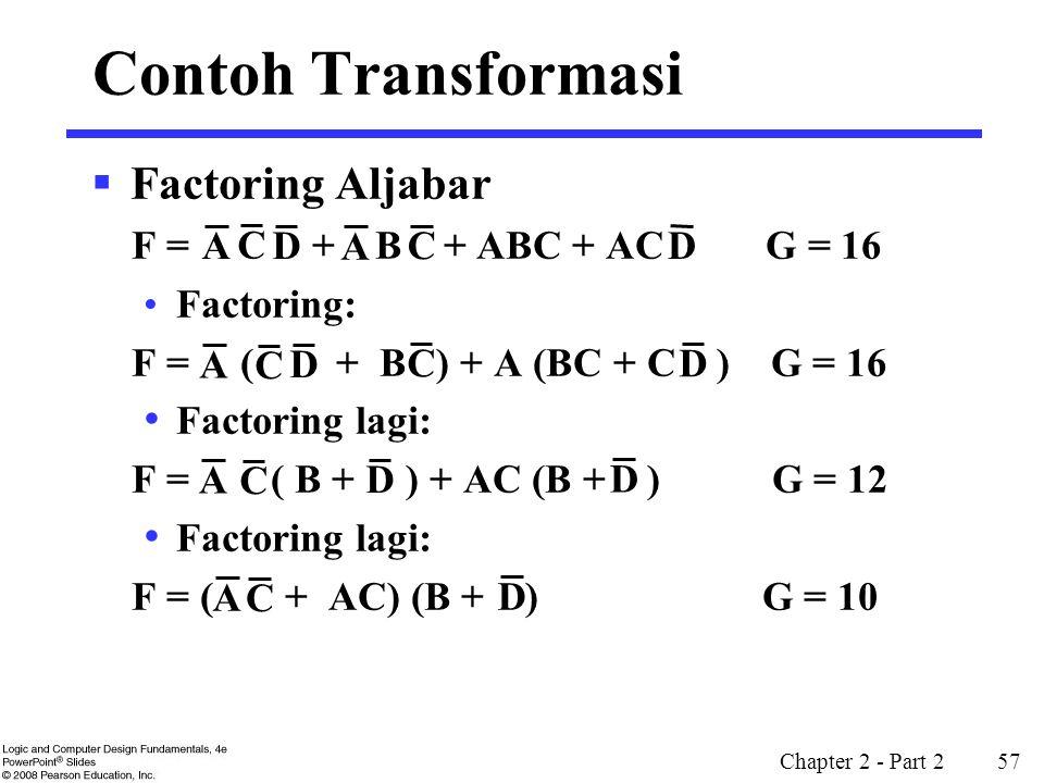 Chapter 2 - Part 2 57 Contoh Transformasi  Factoring Aljabar F = + B + ABC + AC G = 16 Factoring: F = ( + B ) + A (BC + C ) G = 16 Factoring lagi: F
