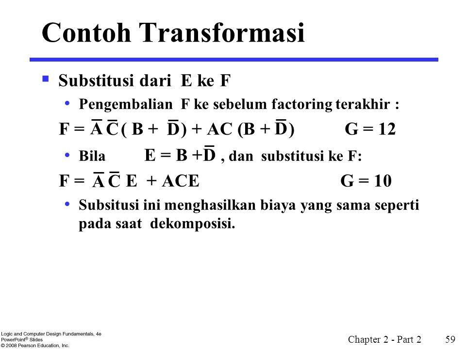 Chapter 2 - Part 2 59  Substitusi dari E ke F Pengembalian F ke sebelum factoring terakhir : F = ( B + ) + AC (B + ) G = 12 Bila E = B +, dan substit