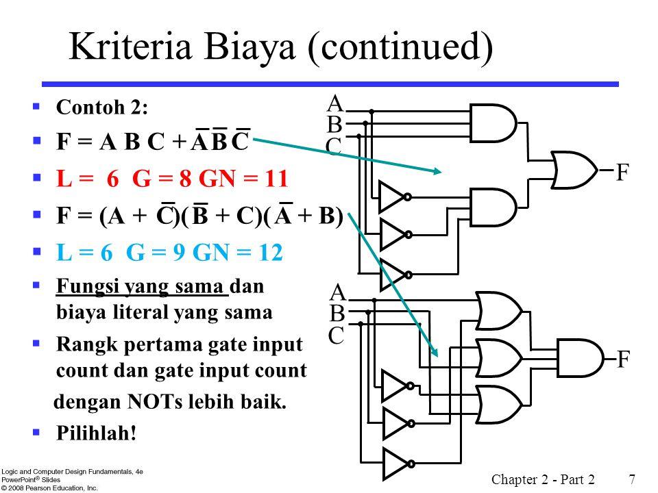 Chapter 2 - Part 2 8 Optimisasi Fungsi Boolean  Minimisasi biaya gerbang input(or literal) dari suatu (a set of) Pers Boolean akan mengurangi biaya rangkaian.