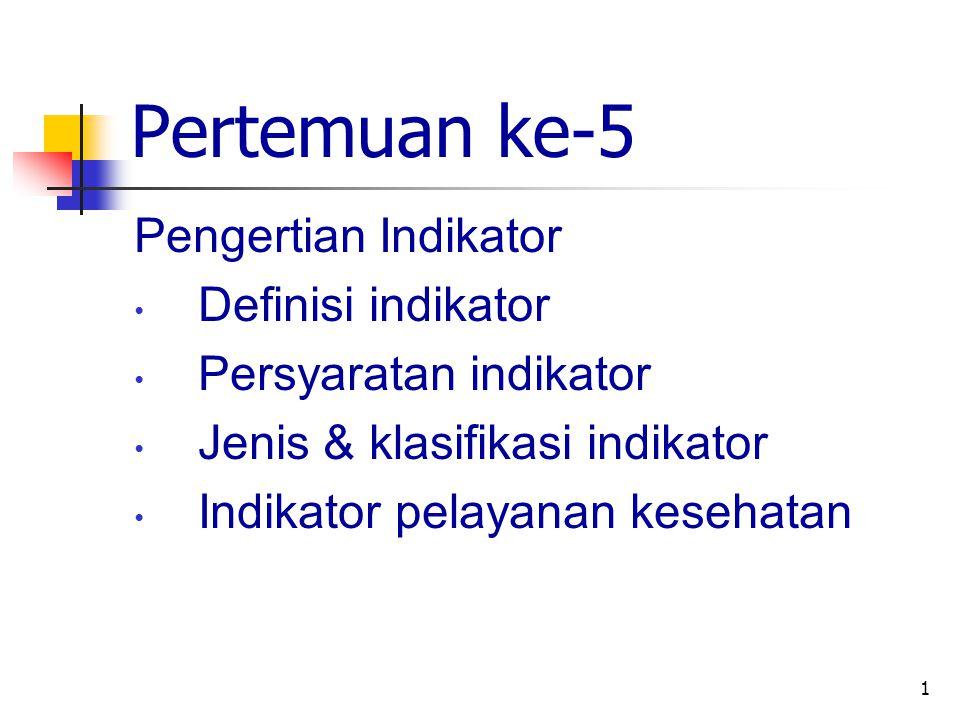1 Pertemuan ke-5 Pengertian Indikator Definisi indikator Persyaratan indikator Jenis & klasifikasi indikator Indikator pelayanan kesehatan