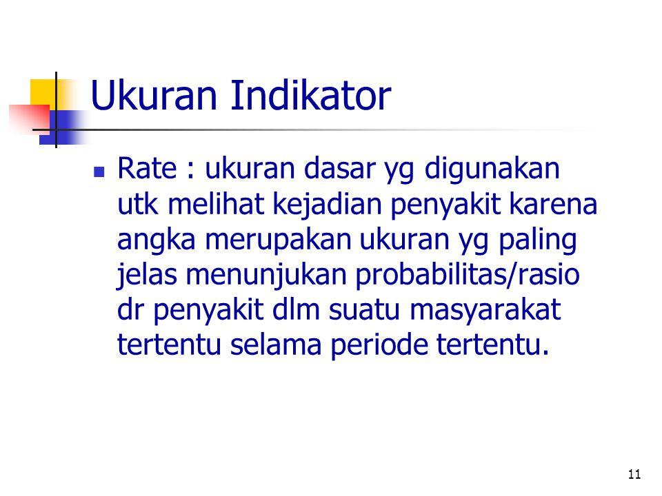 11 Ukuran Indikator Rate : ukuran dasar yg digunakan utk melihat kejadian penyakit karena angka merupakan ukuran yg paling jelas menunjukan probabilit