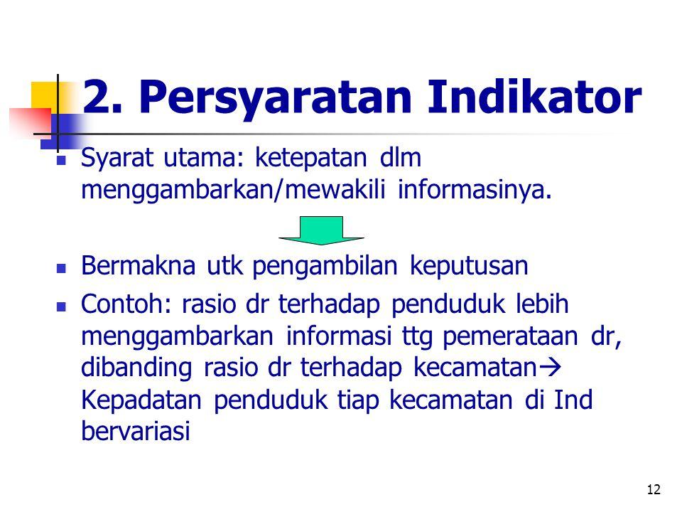 12 2. Persyaratan Indikator Syarat utama: ketepatan dlm menggambarkan/mewakili informasinya. Bermakna utk pengambilan keputusan Contoh: rasio dr terha