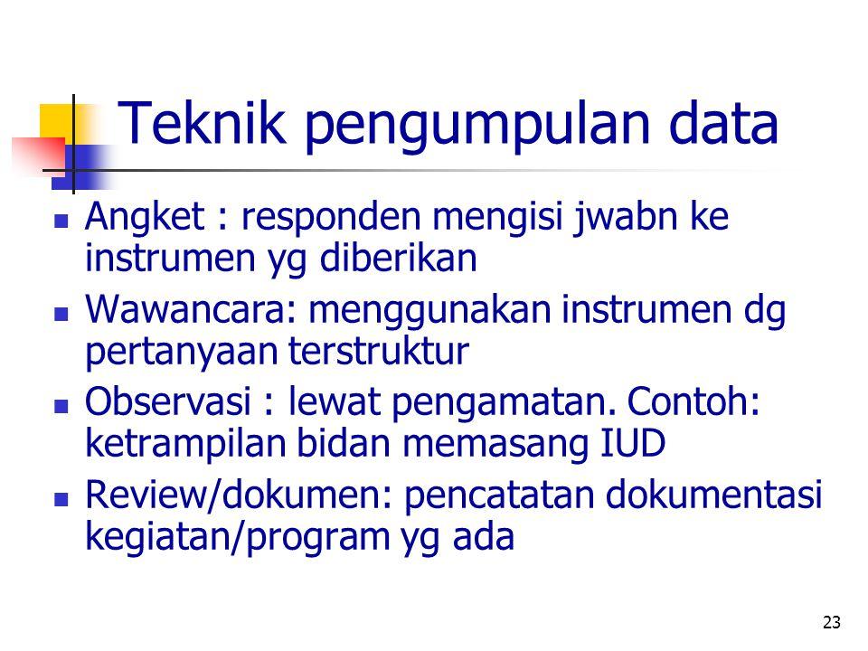 23 Teknik pengumpulan data Angket : responden mengisi jwabn ke instrumen yg diberikan Wawancara: menggunakan instrumen dg pertanyaan terstruktur Obser