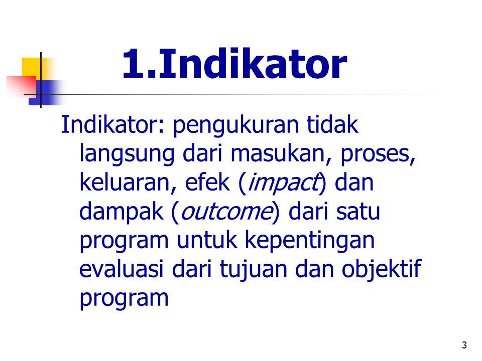 3 1.Indikator Indikator: pengukuran tidak langsung dari masukan, proses, keluaran, efek (impact) dan dampak (outcome) dari satu program untuk kepentin
