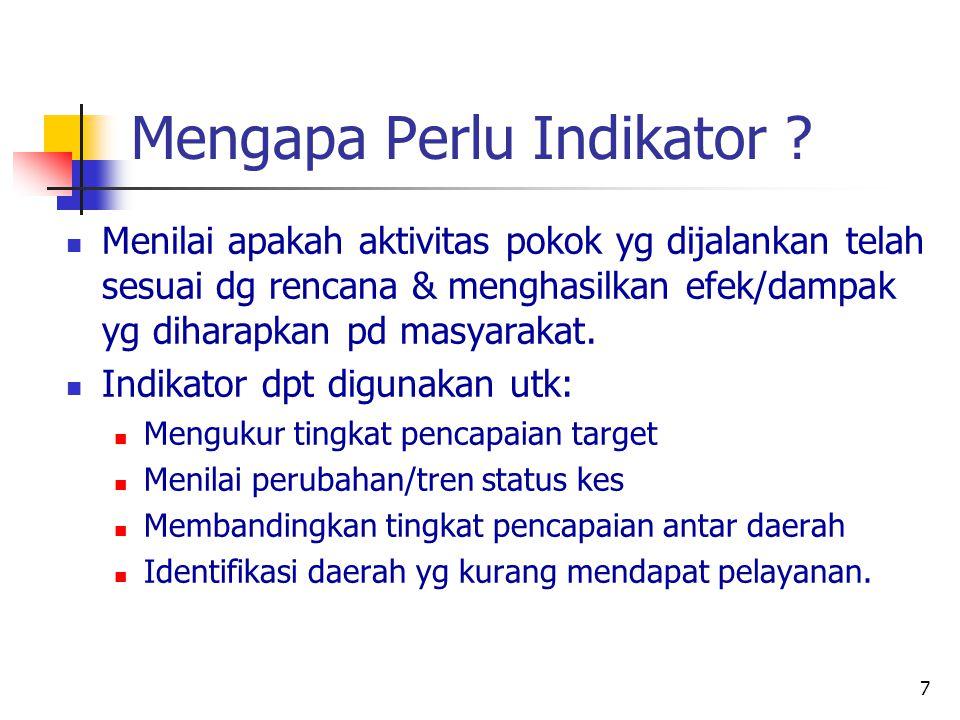 7 Mengapa Perlu Indikator ? Menilai apakah aktivitas pokok yg dijalankan telah sesuai dg rencana & menghasilkan efek/dampak yg diharapkan pd masyaraka