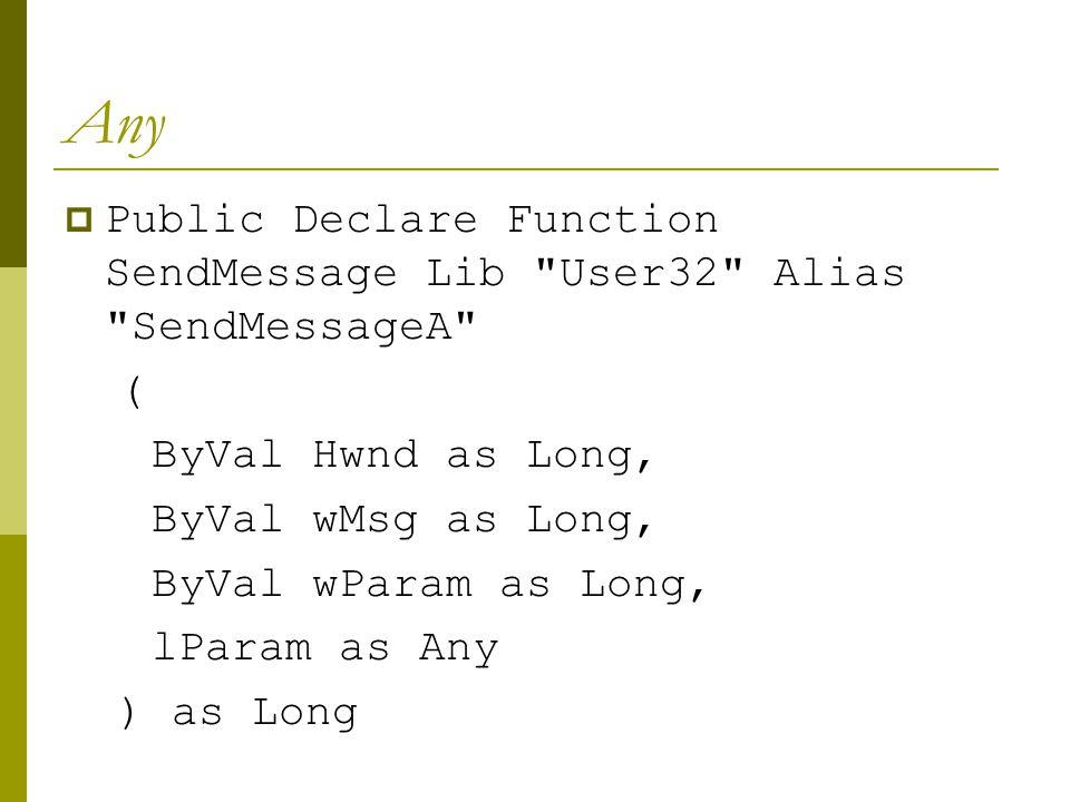 Any  lParam dideklarasikan ByRef (default) sebagai Any.