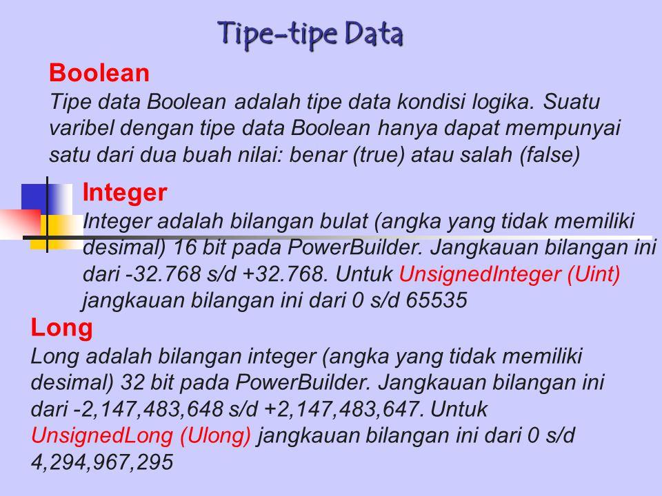 Tipe-tipe Data Boolean Tipe data Boolean adalah tipe data kondisi logika. Suatu varibel dengan tipe data Boolean hanya dapat mempunyai satu dari dua b