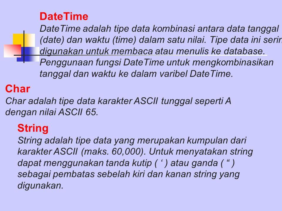 DateTime DateTime adalah tipe data kombinasi antara data tanggal (date) dan waktu (time) dalam satu nilai. Tipe data ini sering digunakan untuk membac