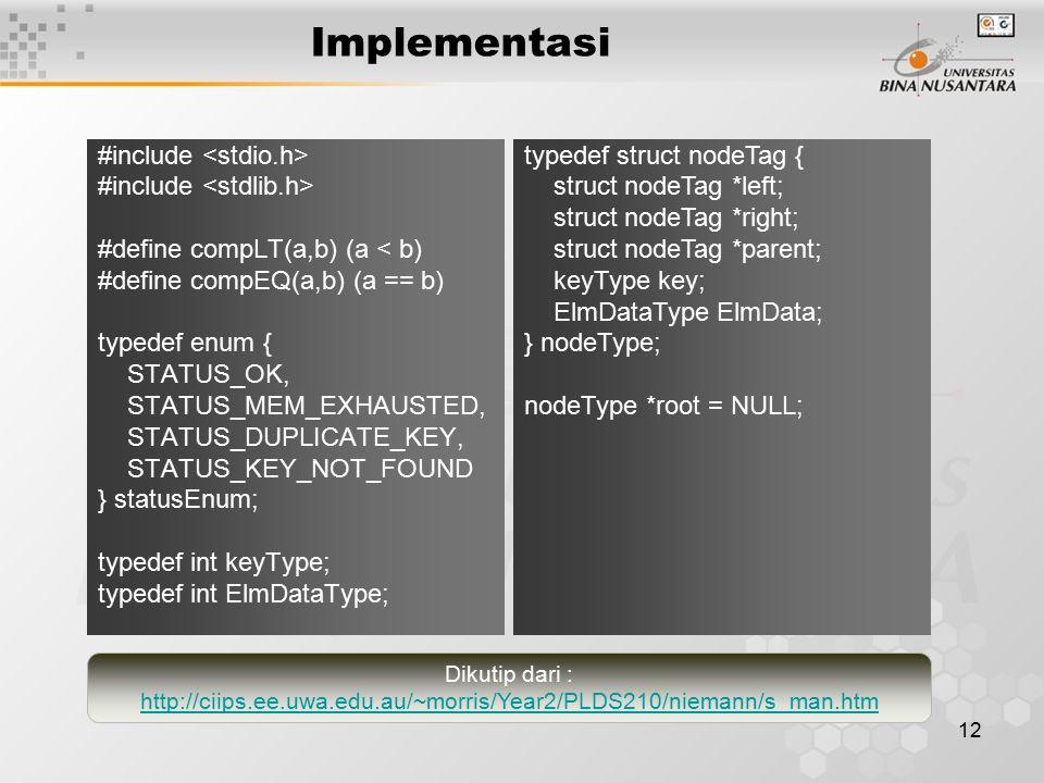12 Implementasi #include #define compLT(a,b) (a < b) #define compEQ(a,b) (a == b) typedef enum { STATUS_OK, STATUS_MEM_EXHAUSTED, STATUS_DUPLICATE_KEY