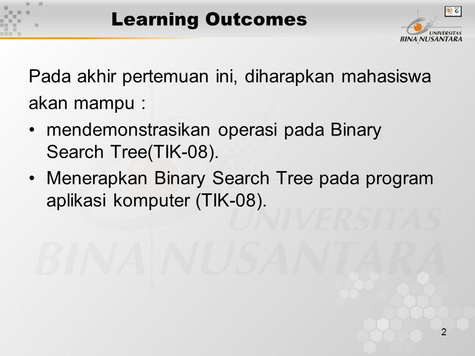 2 Learning Outcomes Pada akhir pertemuan ini, diharapkan mahasiswa akan mampu : mendemonstrasikan operasi pada Binary Search Tree(TIK-08). Menerapkan