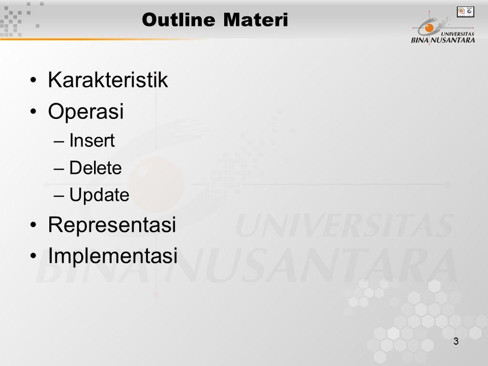 3 Outline Materi Karakteristik Operasi –Insert –Delete –Update Representasi Implementasi