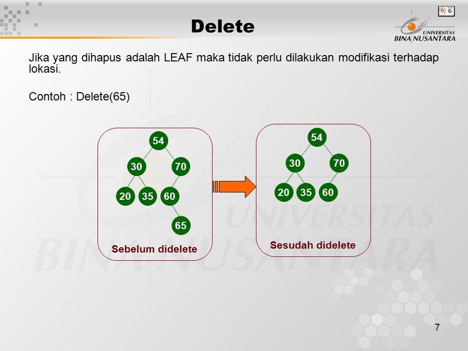 7 Jika yang dihapus adalah LEAF maka tidak perlu dilakukan modifikasi terhadap lokasi. Contoh : Delete(65) Delete 54 3070 20 3560 65 Sesudah didelete