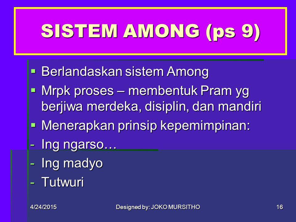 4/24/2015Designed by: JOKO MURSITHO15 BAB IV SIS AMONG, PDK, MK, KODE KEHORMATAN, MOTTO & KIASAN DASAR