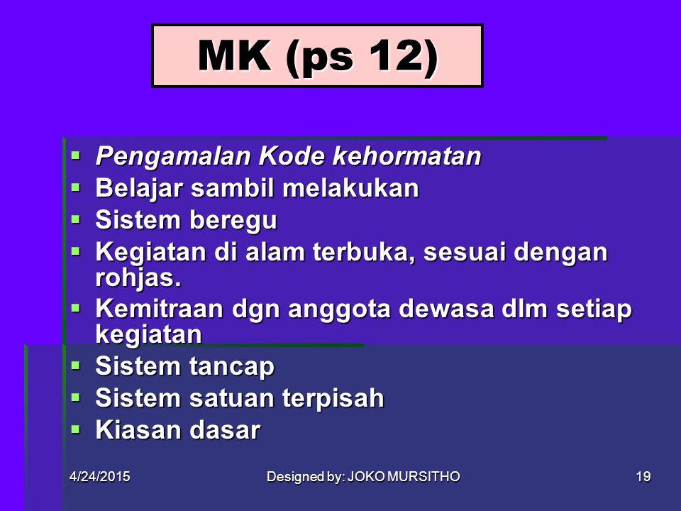 4/24/2015Designed by: JOKO MURSITHO18 PDK (ps 11)  PDK MENCAKUP: -Imtak kpd Tuhan YME -Peduli kpd bngs & tnh air, ssm hidup dan alam seisinya -Peduli