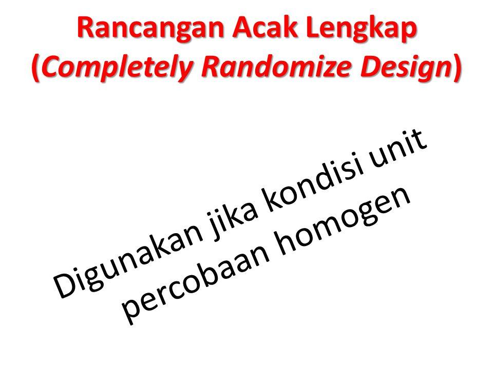 RAL Rancangan Acak Lengkap (RAL) Diterapkan pada percobaan yang dilakukan pada lingkungan homogen (atau dapat dianggap homogen), Perlu dijelaskan disini bahwa yang disebut lingkungan adalah faktor-faktor lain diluar faktor yang sedang diteliti.