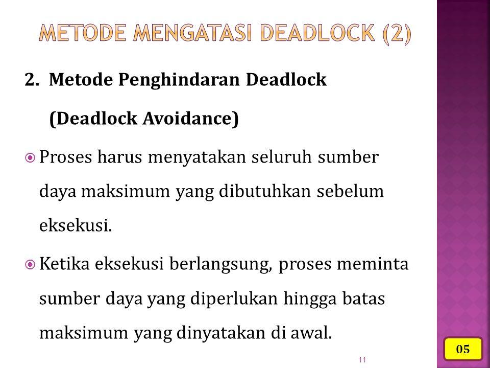 11 2.Metode Penghindaran Deadlock (Deadlock Avoidance)  Proses harus menyatakan seluruh sumber daya maksimum yang dibutuhkan sebelum eksekusi.  Keti