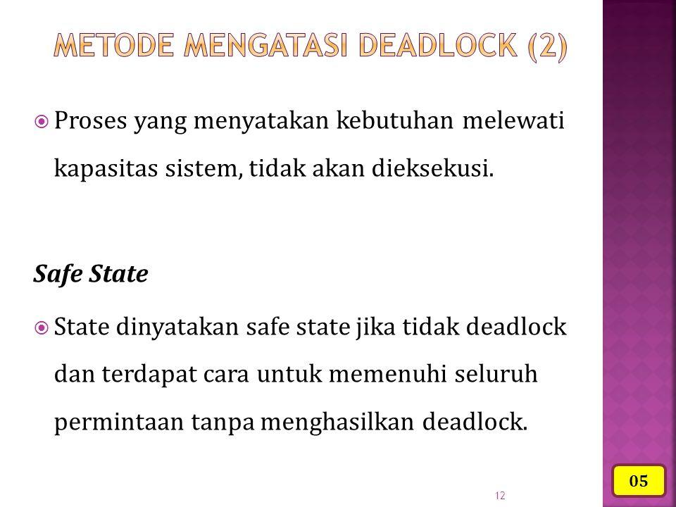 12  Proses yang menyatakan kebutuhan melewati kapasitas sistem, tidak akan dieksekusi. Safe State  State dinyatakan safe state jika tidak deadlock d