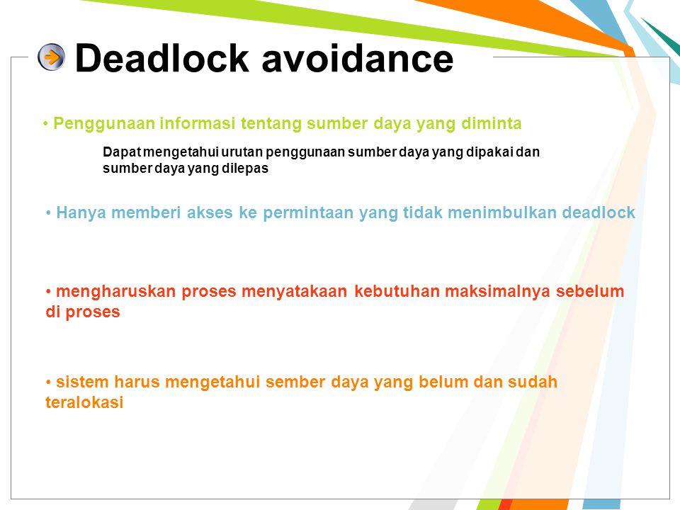Deadlock avoidance Penggunaan informasi tentang sumber daya yang diminta Dapat mengetahui urutan penggunaan sumber daya yang dipakai dan sumber daya yang dilepas Hanya memberi akses ke permintaan yang tidak menimbulkan deadlock mengharuskan proses menyatakaan kebutuhan maksimalnya sebelum di proses sistem harus mengetahui sember daya yang belum dan sudah teralokasi