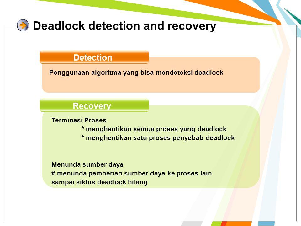 Deadlock detection and recovery Detection Penggunaan algoritma yang bisa mendeteksi deadlock Recovery Terminasi Proses * menghentikan semua proses yang deadlock * menghentikan satu proses penyebab deadlock Menunda sumber daya # menunda pemberian sumber daya ke proses lain sampai siklus deadlock hilang