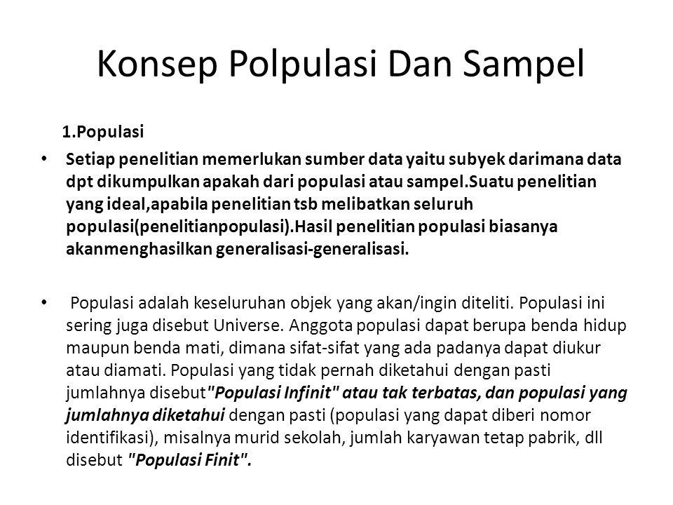 Konsep Polpulasi Dan Sampel 1.Populasi Setiap penelitian memerlukan sumber data yaitu subyek darimana data dpt dikumpulkan apakah dari populasi atau s