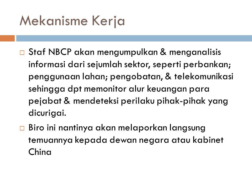 Mekanisme Kerja  Staf NBCP akan mengumpulkan & menganalisis informasi dari sejumlah sektor, seperti perbankan; penggunaan lahan; pengobatan, & teleko