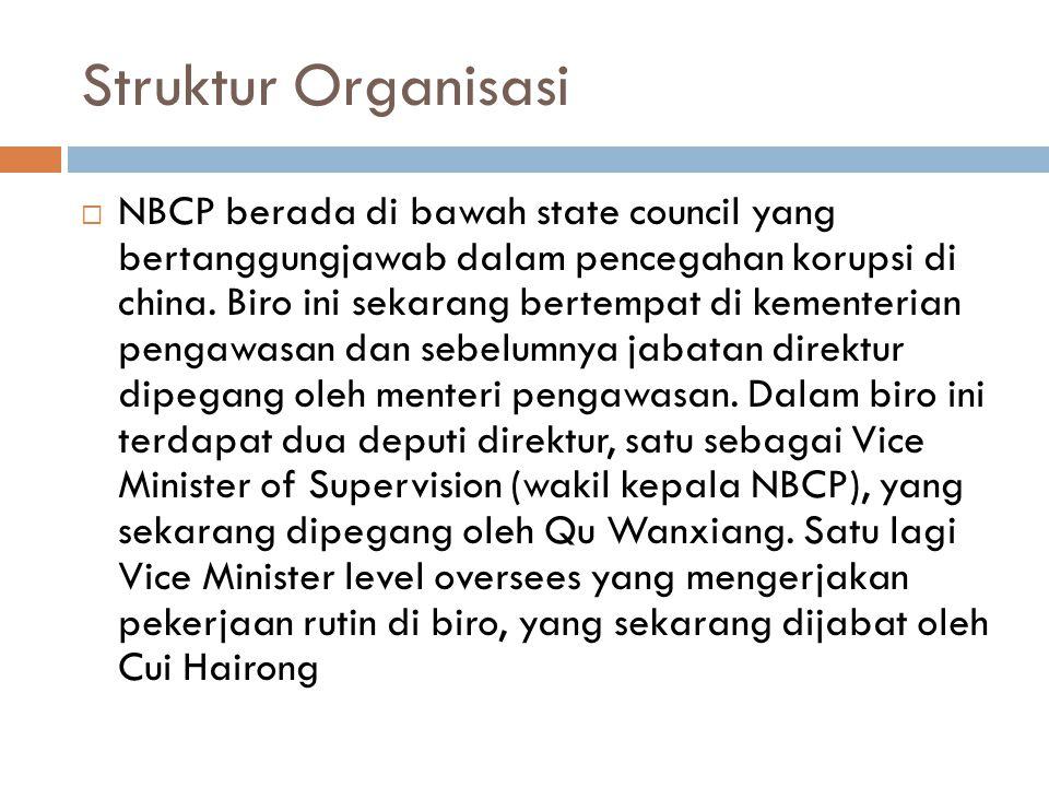 Struktur Organisasi  NBCP berada di bawah state council yang bertanggungjawab dalam pencegahan korupsi di china. Biro ini sekarang bertempat di kemen