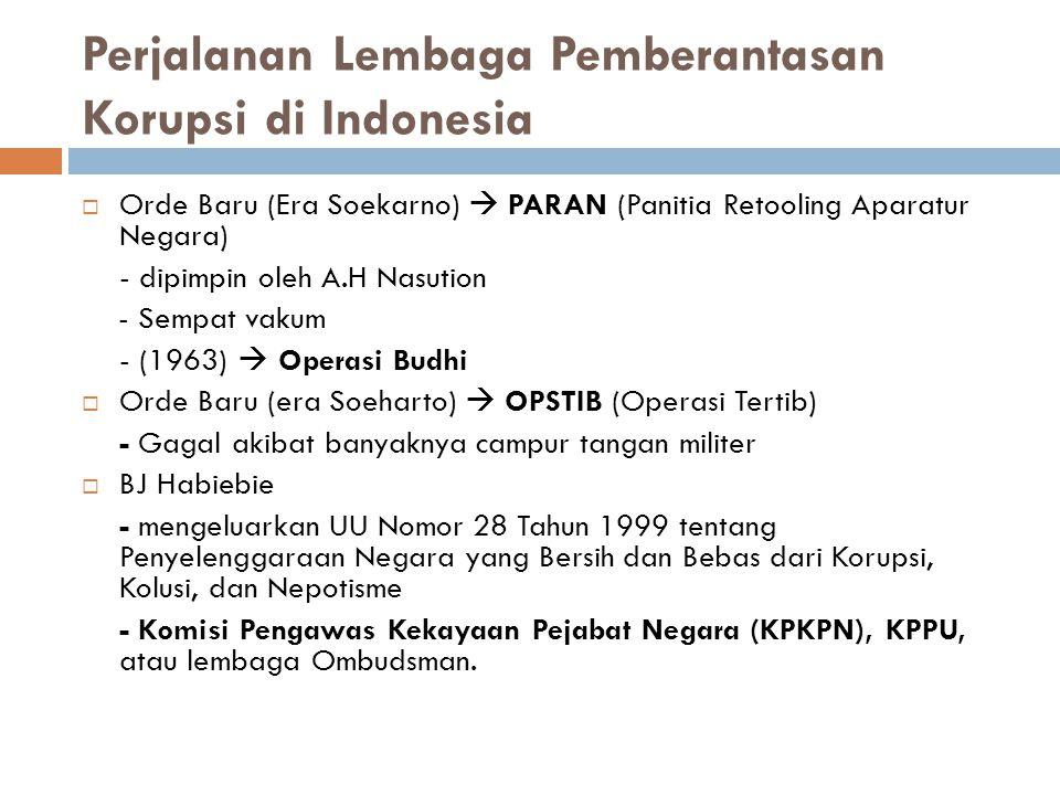 Perjalanan Lembaga Pemberantasan Korupsi di Indonesia  Orde Baru (Era Soekarno)  PARAN (Panitia Retooling Aparatur Negara) - dipimpin oleh A.H Nasut