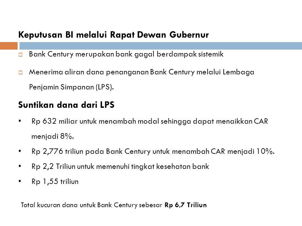 Keputusan BI melalui Rapat Dewan Gubernur  Bank Century merupakan bank gagal berdampak sistemik  Menerima aliran dana penanganan Bank Century melalu