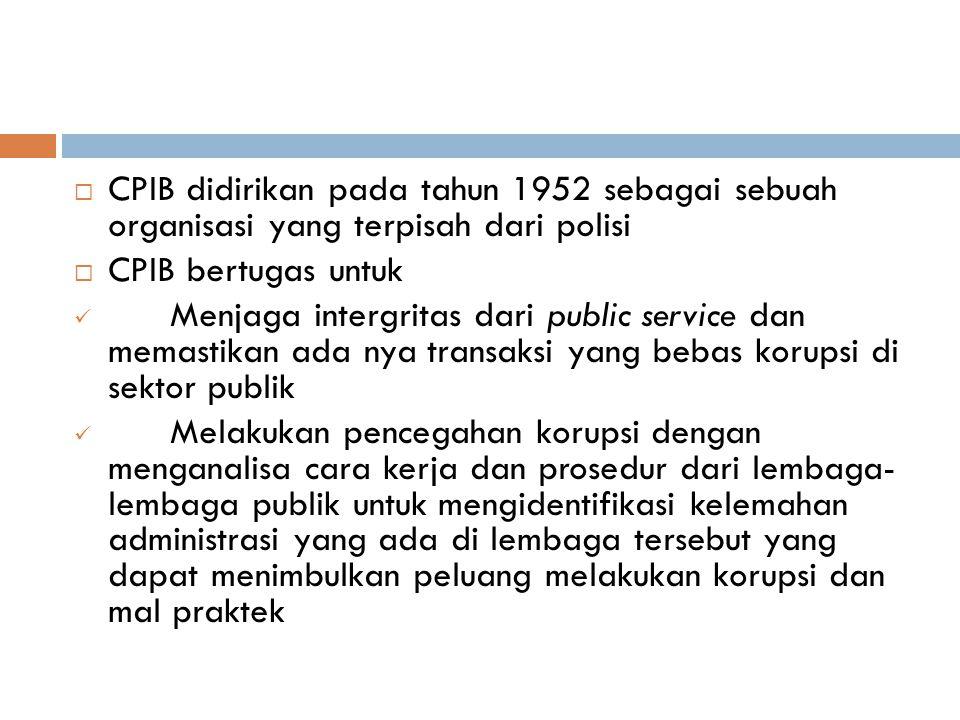  CPIB didirikan pada tahun 1952 sebagai sebuah organisasi yang terpisah dari polisi  CPIB bertugas untuk Menjaga intergritas dari public service dan