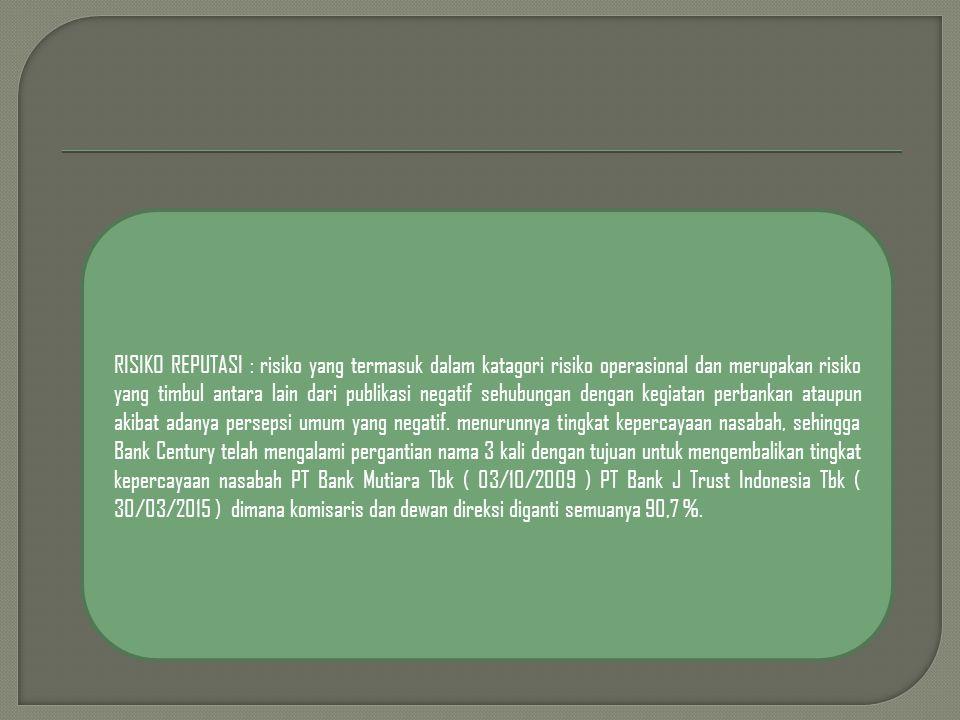 RISIKO REPUTASI : risiko yang termasuk dalam katagori risiko operasional dan merupakan risiko yang timbul antara lain dari publikasi negatif sehubungan dengan kegiatan perbankan ataupun akibat adanya persepsi umum yang negatif.