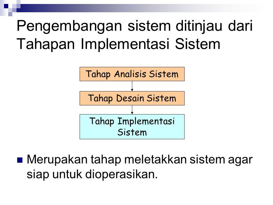 Pengembangan sistem ditinjau dari Tahapan Implementasi Sistem Merupakan tahap meletakkan sistem agar siap untuk dioperasikan. Tahap Analisis Sistem Ta