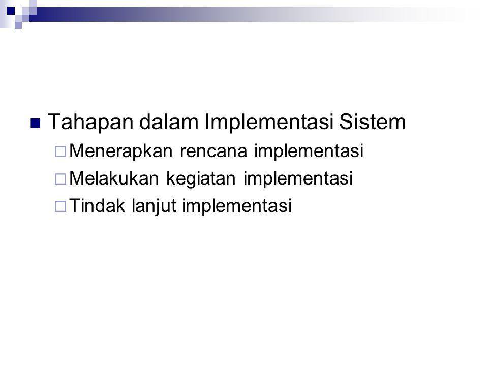 Tahapan dalam Implementasi Sistem  Menerapkan rencana implementasi  Melakukan kegiatan implementasi  Tindak lanjut implementasi