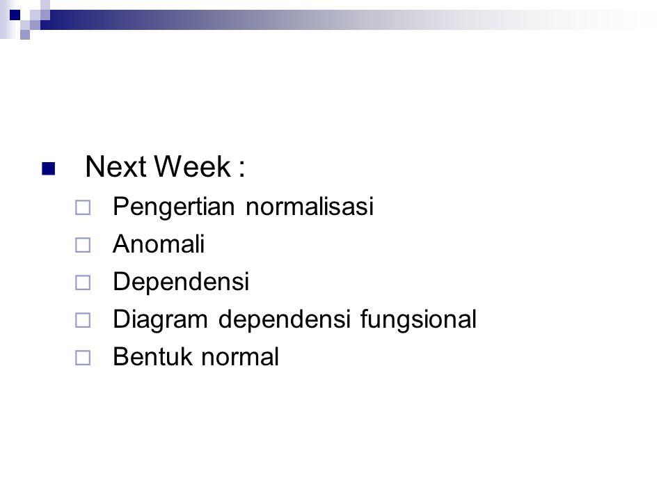 Next Week :  Pengertian normalisasi  Anomali  Dependensi  Diagram dependensi fungsional  Bentuk normal