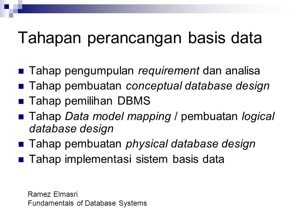 Tahapan perancangan basis data Tahap pengumpulan requirement dan analisa Tahap pembuatan conceptual database design Tahap pemilihan DBMS Tahap Data mo
