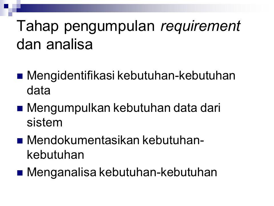 Tahap pengumpulan requirement dan analisa Mengidentifikasi kebutuhan-kebutuhan data Mengumpulkan kebutuhan data dari sistem Mendokumentasikan kebutuha