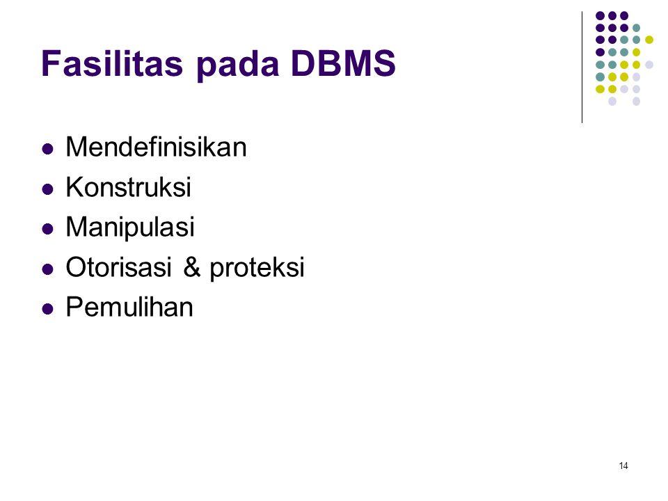 14 Fasilitas pada DBMS Mendefinisikan Konstruksi Manipulasi Otorisasi & proteksi Pemulihan