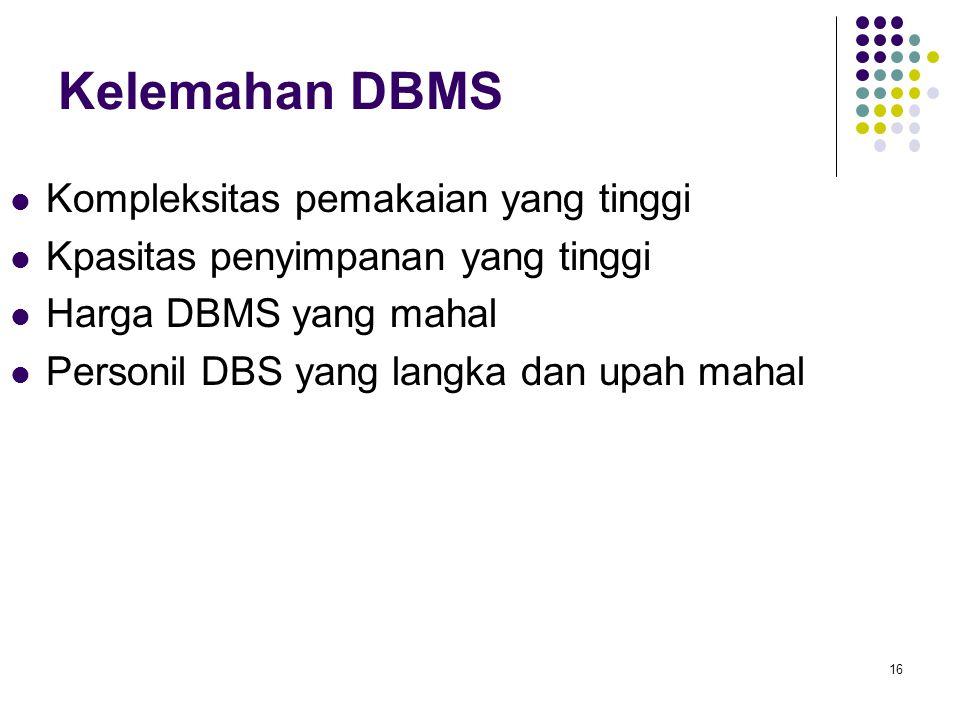 16 Kelemahan DBMS Kompleksitas pemakaian yang tinggi Kpasitas penyimpanan yang tinggi Harga DBMS yang mahal Personil DBS yang langka dan upah mahal