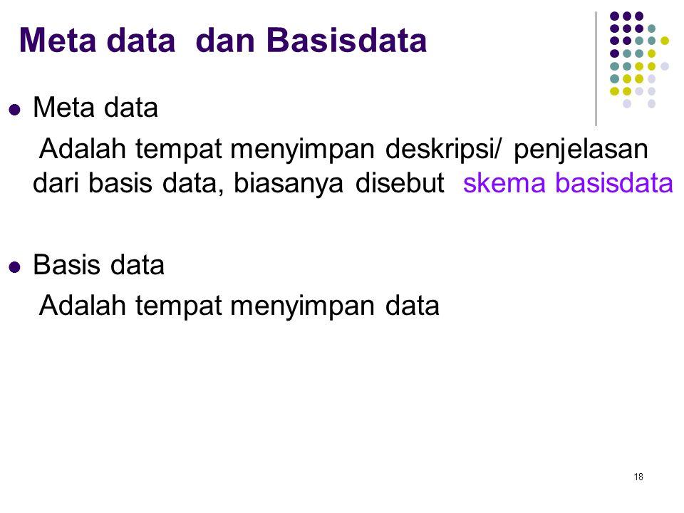 Meta data dan Basisdata Meta data Adalah tempat menyimpan deskripsi/ penjelasan dari basis data, biasanya disebut skema basisdata Basis data Adalah te