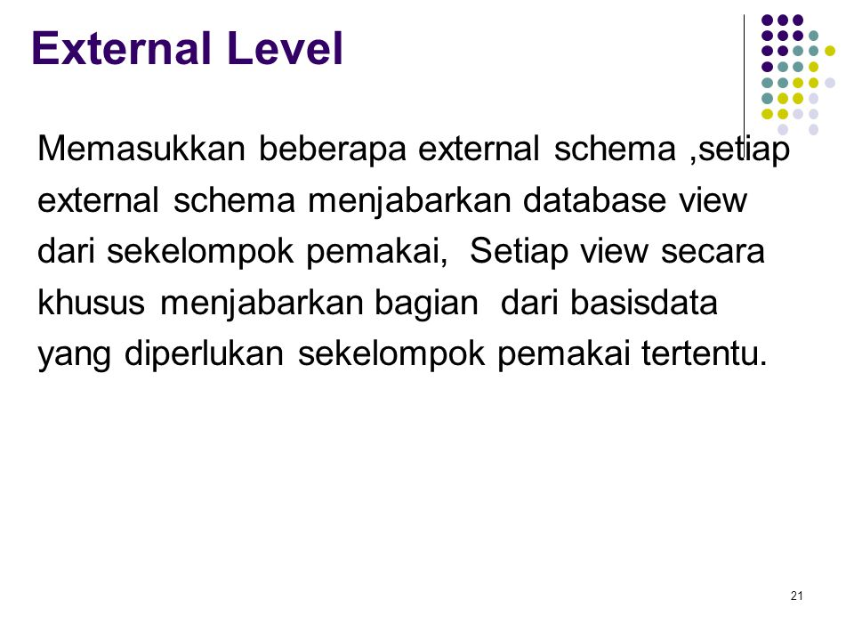 External Level Memasukkan beberapa external schema,setiap external schema menjabarkan database view dari sekelompok pemakai, Setiap view secara khusus