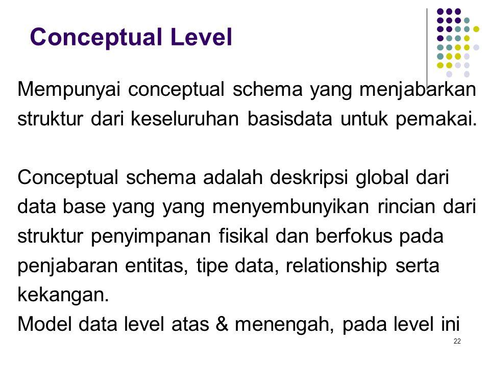 Conceptual Level Mempunyai conceptual schema yang menjabarkan struktur dari keseluruhan basisdata untuk pemakai. Conceptual schema adalah deskripsi gl