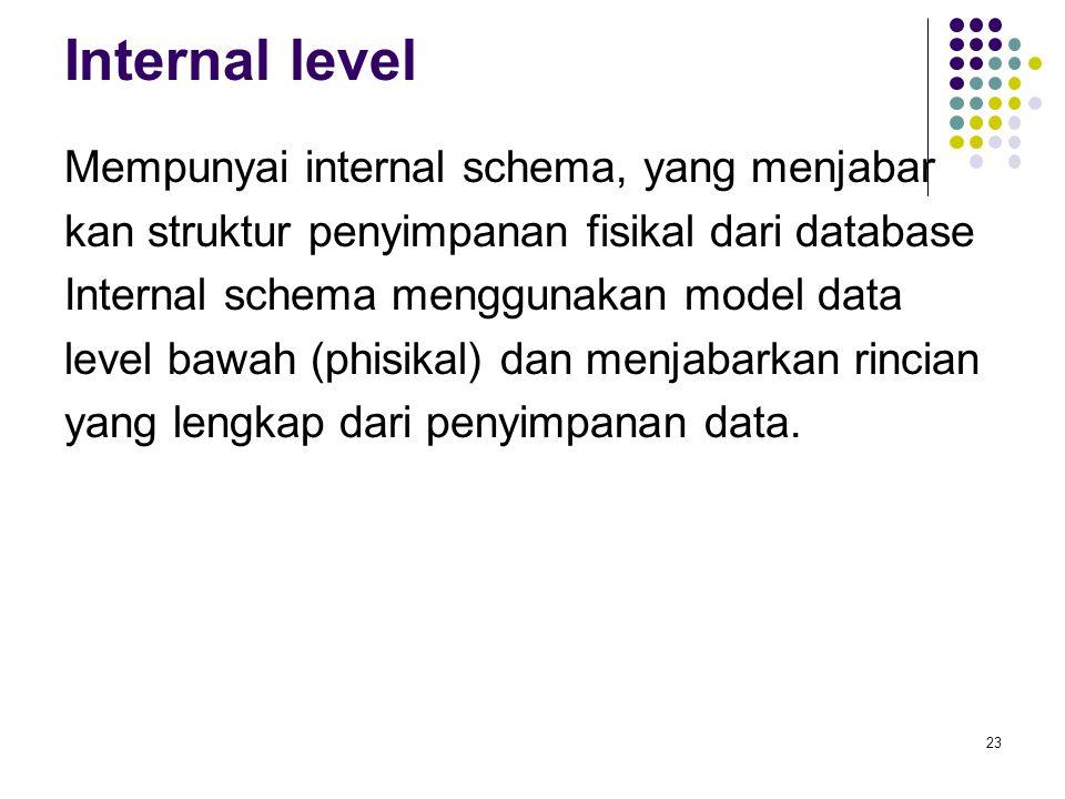 Internal level Mempunyai internal schema, yang menjabar kan struktur penyimpanan fisikal dari database Internal schema menggunakan model data level ba