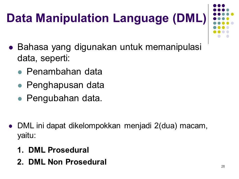 Data Manipulation Language (DML) Bahasa yang digunakan untuk memanipulasi data, seperti: Penambahan data Penghapusan data Pengubahan data. DML ini dap